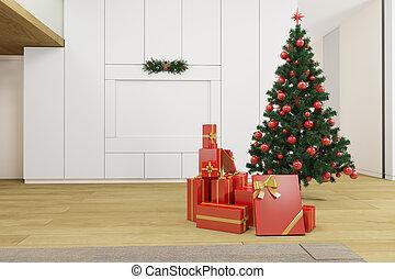 Living room with christmas tree