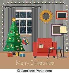 Living room with Christmas tree.