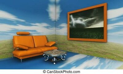 living room with cloud reflections
