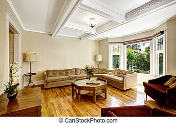 Living room with coffered ceiling system