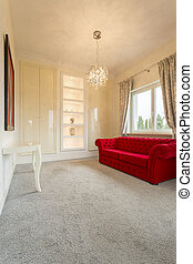 Living room with couch - Luxurious, living room with red...
