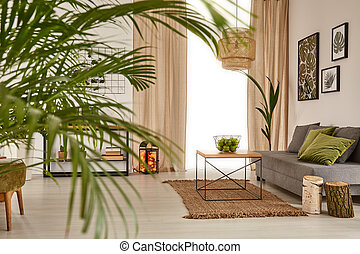Living room with decorative palm, sofa and table