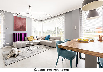 Living room with dining area - Contemporary living room for...