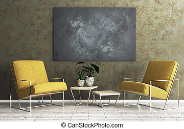 Living room with empty blackboard banner