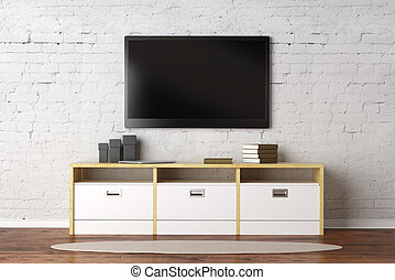 Living room with empty TV screen - TV set with empty screen...