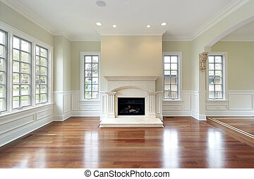 Living room with fireplace - Living room in new construction...