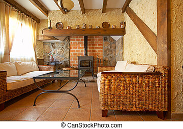 Living room with fireplace - View of a cozy old living room ...