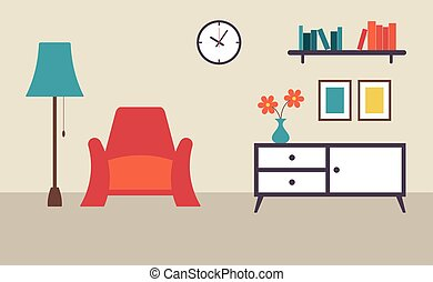 Living room with furniture flat design vector illustration