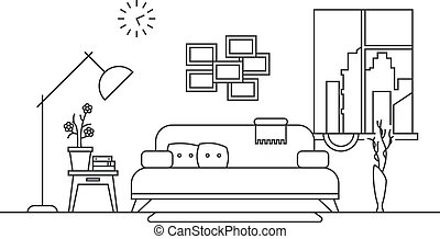 Living room with furniture interior in thin line style vector illustration