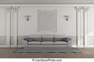 Living room with gray sofa in classic style - 3d rendering
