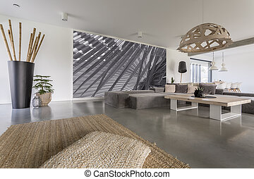 Living room with grey mural