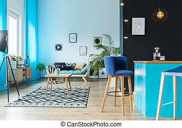Living room with kitchen annex