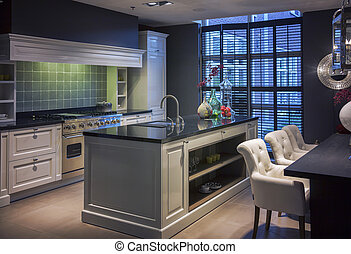 living room with kitchen