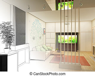 Living Room with Landscape View, 3D Interior Architecture
