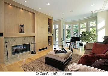 Living room with marble fireplace - Living room in luxury...