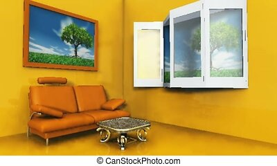 Living room with open windows