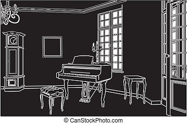 Living Room With Piano Vector