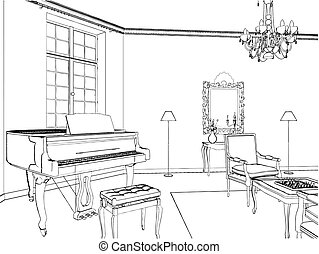 Living Room With Piano Vector...