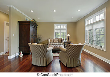 Living room with redwood flooring - Living room in suburban...