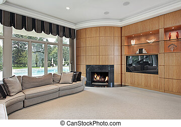 Living room with rounded fireplace - Living room in luxury...
