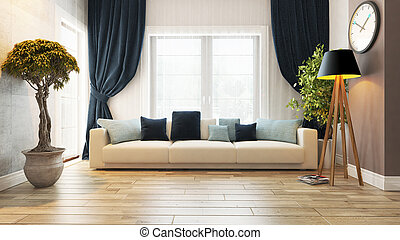 living room or saloon interior design with seat 3d rendering