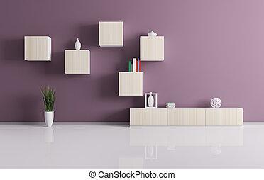 Living room with shelves 3d render