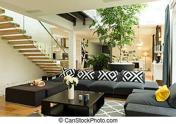 Living room with sofa and coffee table