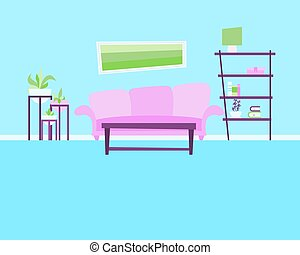 Living room with sofa and flowers