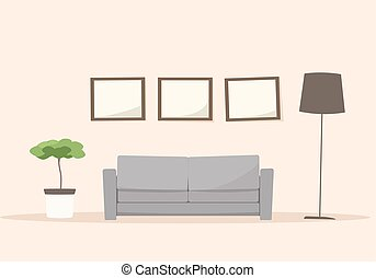 Living room with sofa. Cartoon vector image