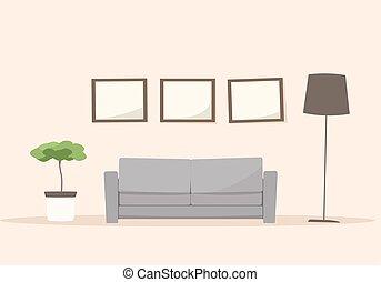 Living room with sofa. Cartoon vector image