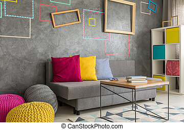 Living room with square frames