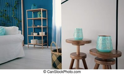 Living room with turquoise accents - Bright white and blue...
