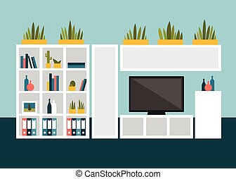 Living room with TV and book shelves. Flat design