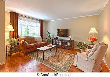 Living room in the apartment in Kirkland, WA. Canon 5D Mark II. 16mm. ISO 125. F11. Three exposures combines.