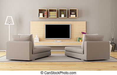 Living room with tv - Cntemporary living room with tv -...