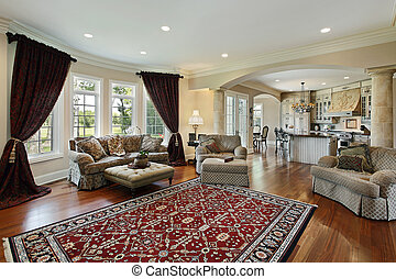 Living room in luxury home with two columns