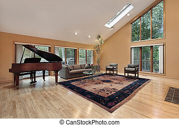 Living room with two story window
