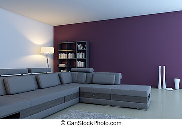living room with violet wall