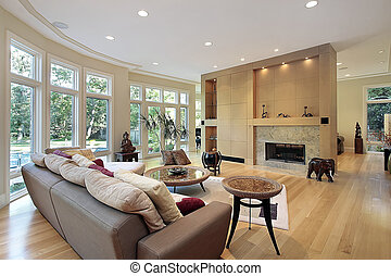 Living room with wall of windows - Living room in luxury ...