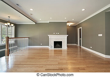 Living room with white railing - Living room in luxury condo...