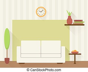 Living room with white sofa.
