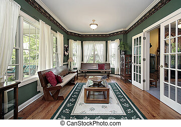 Living room with wood benches - Living room in traditional...