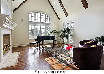 Living room with wood ceiling beams