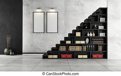 Living room with wooden staircase and bookcase - Minimalist...