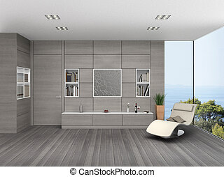 Living room with wooden wall cladding