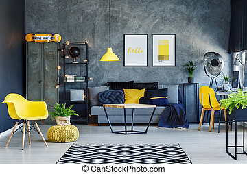 Living room with yellow pouf