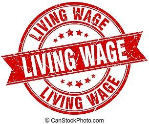 living wage round grunge ribbon stamp