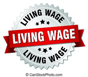 living wage round isolated silver badge