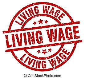 living wage round red grunge stamp