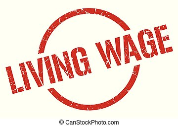 living wage stamp - living wage red round stamp